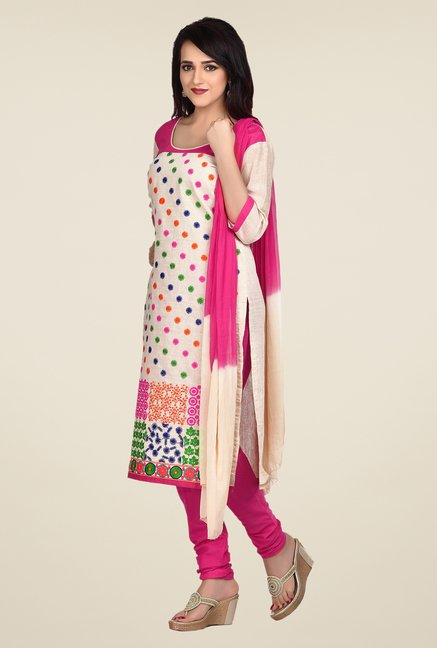 Shonaya Beige & Pink Embroidered Dress Material