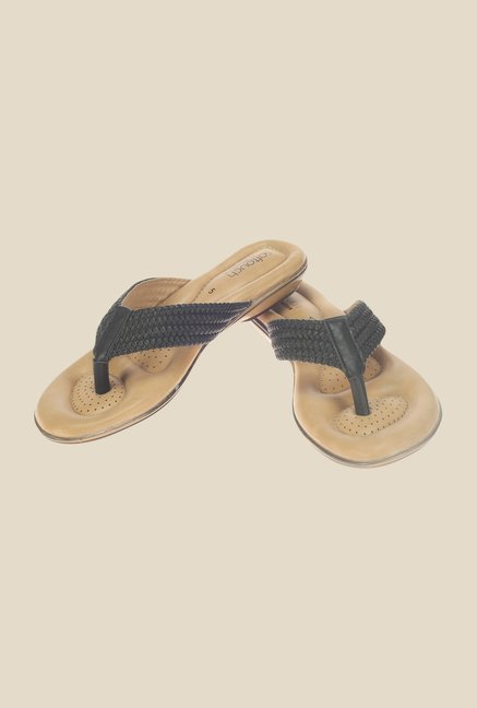 Khadim's Softouch Black Thong Sandals