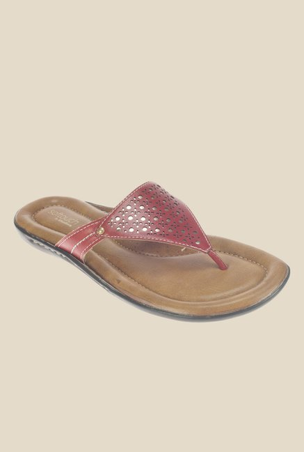 Khadim's Softouch Maroon Thong Sandals