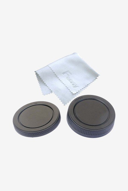 Fotasy CM43 Camera Body Cap Set And Cleaning Cloth - Black