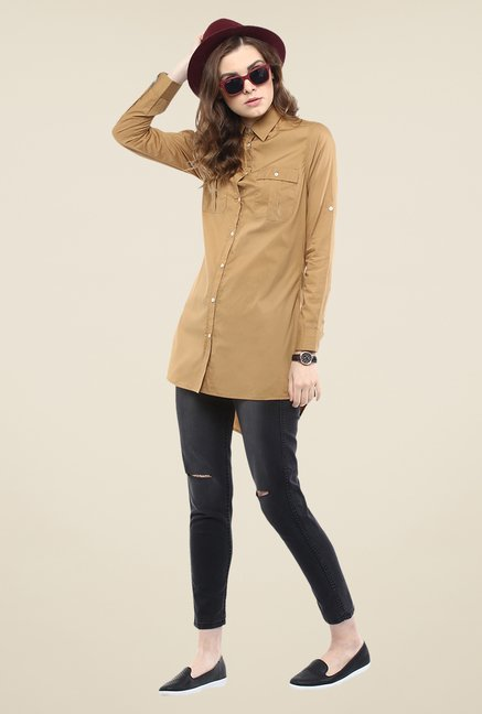 Yepme Sand Brown Lorina Solid Shirt