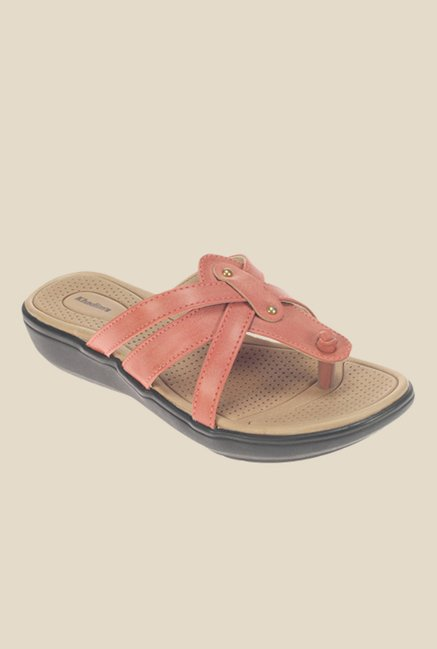 Khadim's Coral Wedge Heeled Thong Sandals