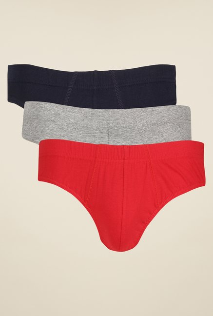 Yepme Red, Grey & Navy Jasper Briefs (Pack Of 3)