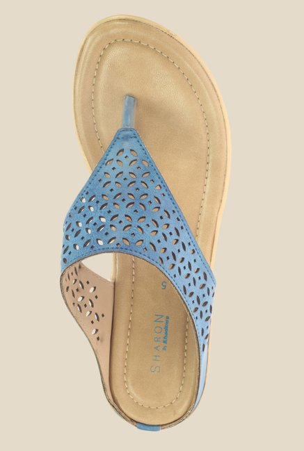 Khadim's Sharon Blue Wedge Heeled Thong Sandals