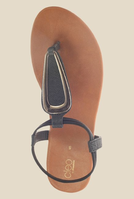 Khadim's Cleo Black Sling Back Sandals