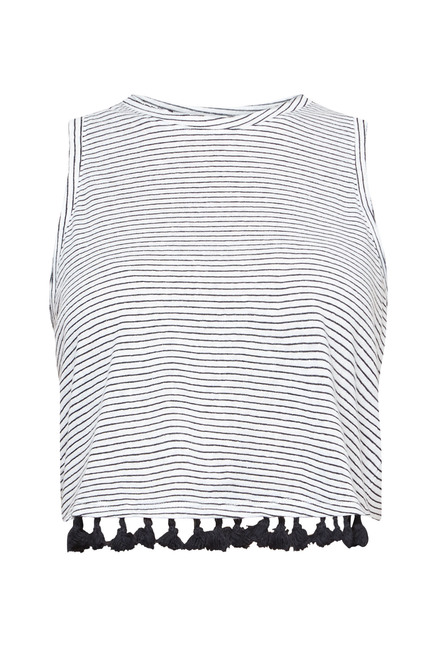 New Look White Striped Top