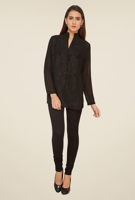 Soie Black Embroidered Top