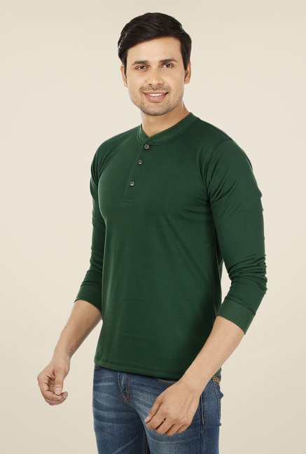 Weardo Dark Green Henley T Shirt