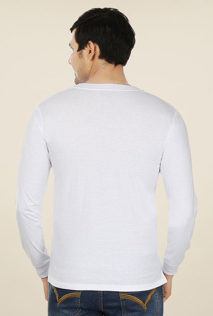 Weardo White Henley Neck T Shirt