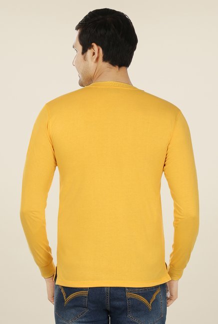 Weardo Yellow Henley Neck T Shirt