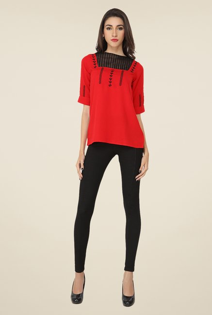 Soie Red Embroidered Top