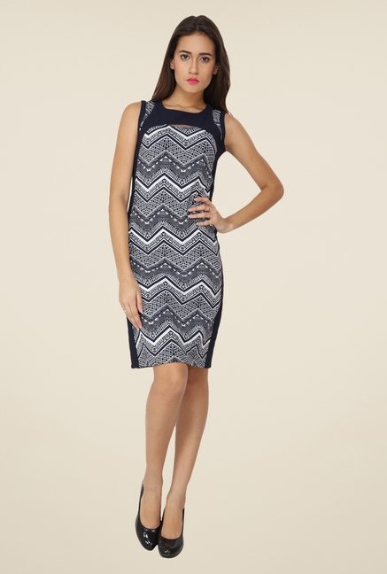 Soie Blue Aztec Print Dress