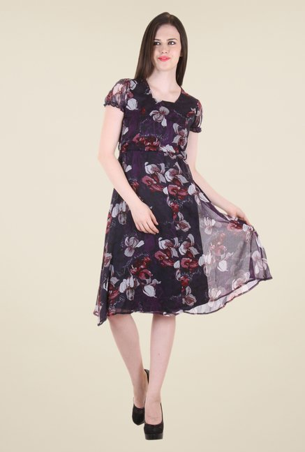Hotberries Purple Printed Dress