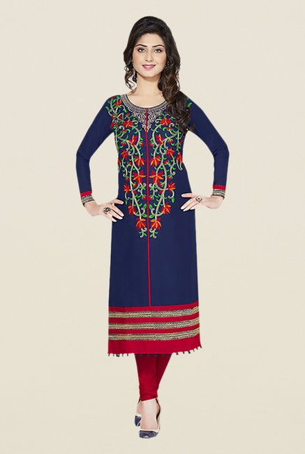 Ishin Blue & Red Embroidered Unstitched Dress Material