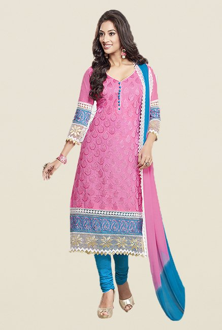 Ishin Pink & Blue Embroidered Unstitched Dress Material
