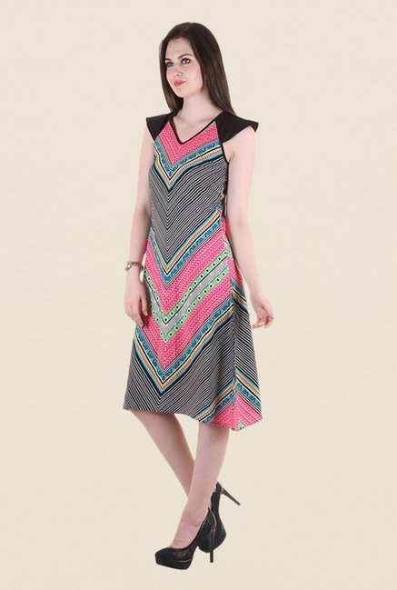 Hotberries Black & Pink Printed Dress