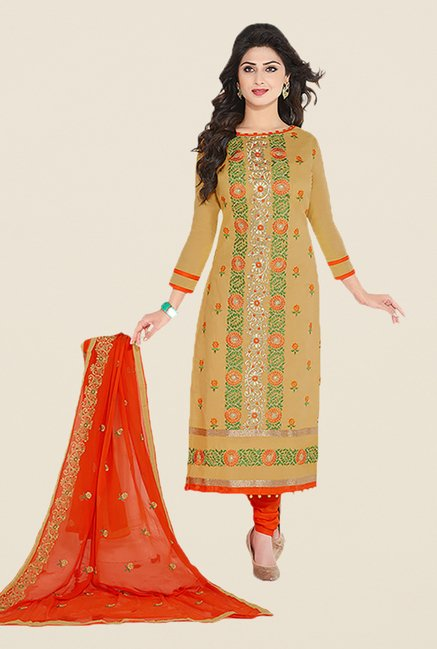 Ishin Beige & Red Embroidered Unstitched Dress Material