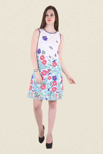Hotberries White & Blue Floral Print Dress