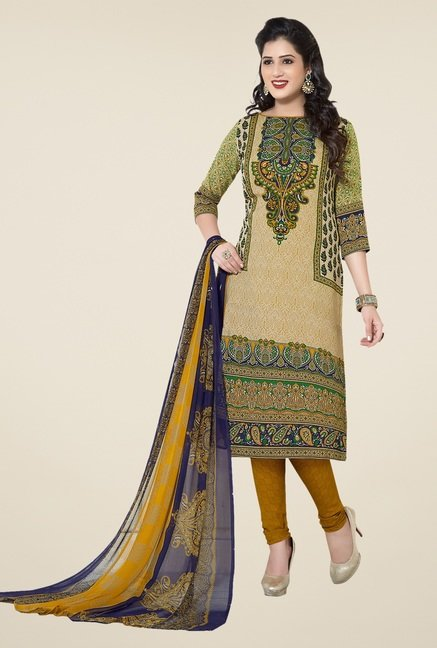 Ishin Green & Yellow Printed Unstitched Dress Material