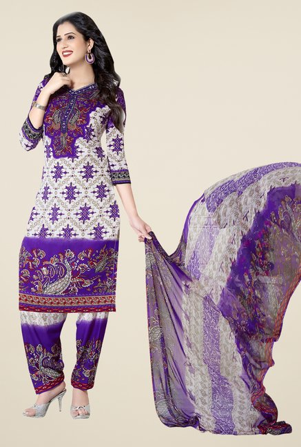 Ishin Purple & White Printed Unstitched Dress Material