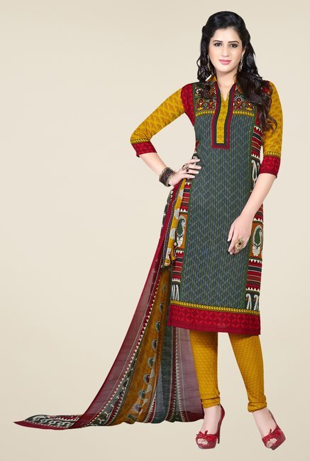 Ishin Dark Green & Yellow Printed Unstitched Dress Material