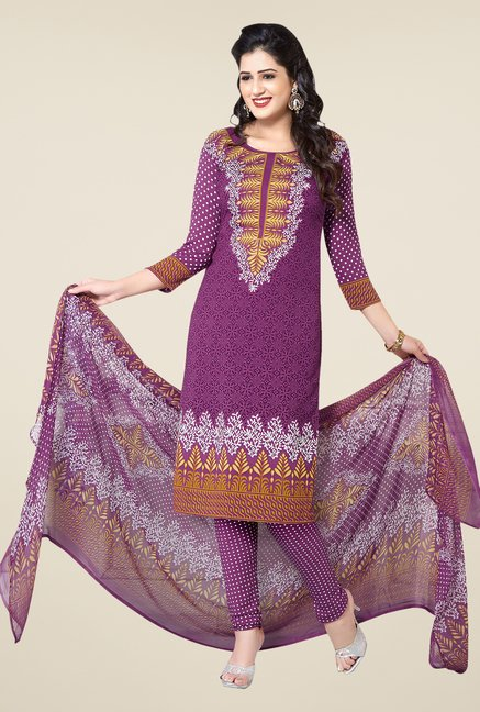 Ishin Purple Printed Unstitched Dress Material
