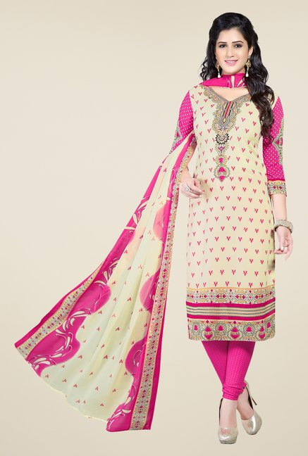 Ishin White & Pink Printed Unstitched Dress Material