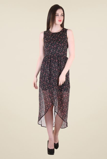 Hotberries Black Floral Print Dress