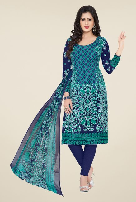Ishin Blue Printed Unstitched Dress Material