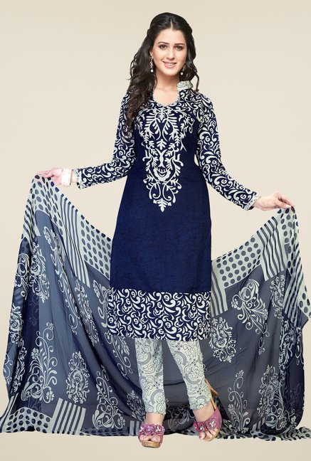 Ishin Blue & White Printed Unstitched Dress Material