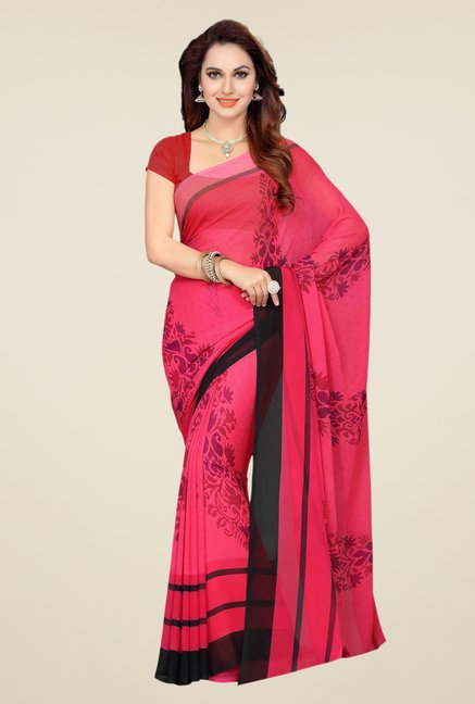Ishin Red Faux Georgette Printed Saree
