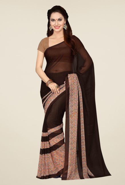 Ishin Brown Faux Georgette Printed Saree