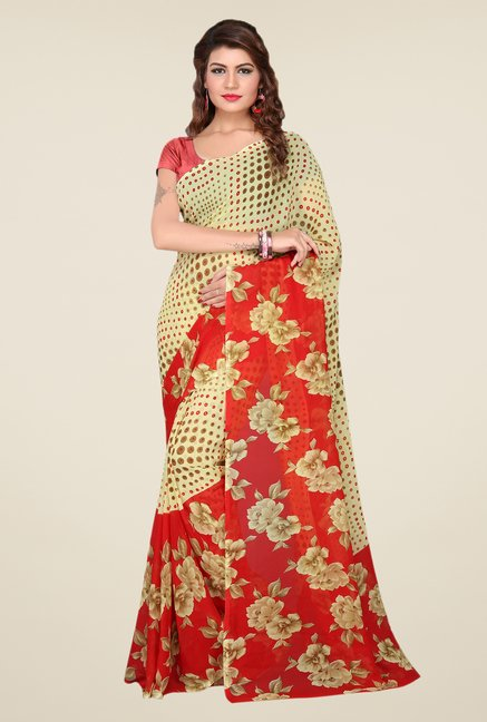 Ishin Beige & Red Faux Georgette Floral Print Saree