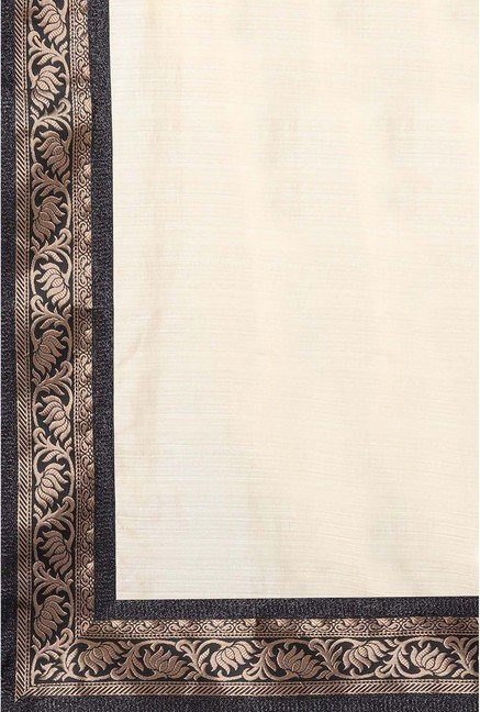 Ishin Cream Banarsi Silk Printed Saree