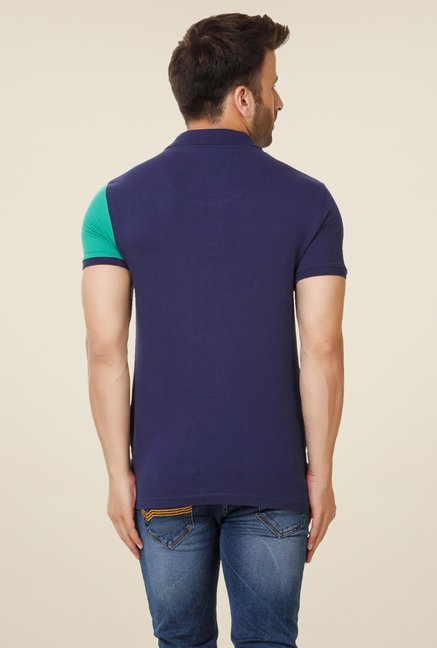 Spunk Navy Cut & Sew Polo T-shirt