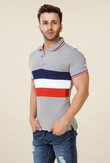 Spunk Grey Baystriped Polo T-shirt