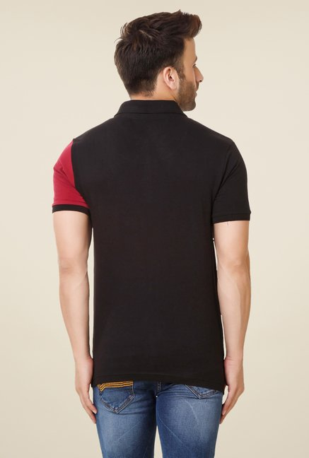 Spunk Black Cut & Sew Polo T-shirt
