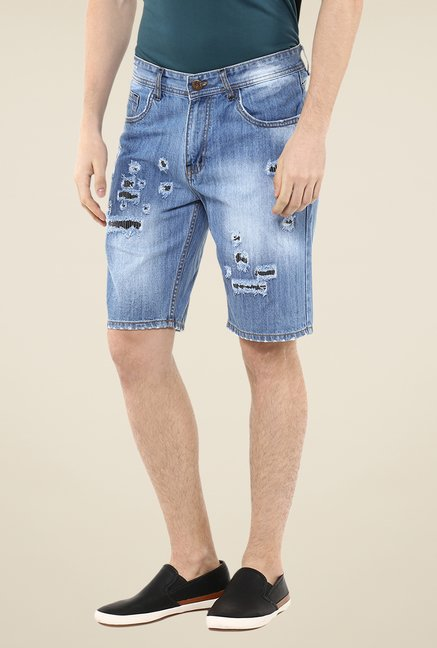 Yepme Blue Douges Lighte Wash Denim Shorts
