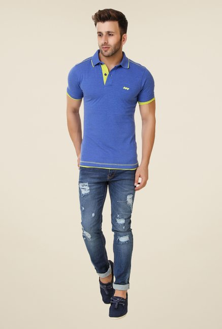 Spunk Blue Ripped Polo T-shirt