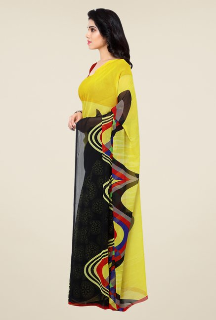 Shonaya Black & Yellow Printed Georgette Saree