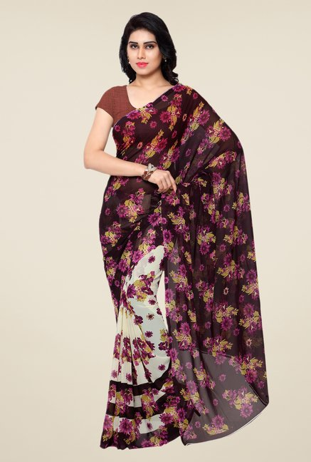 Shonaya Cream & Brown Floral Print Georgette Saree