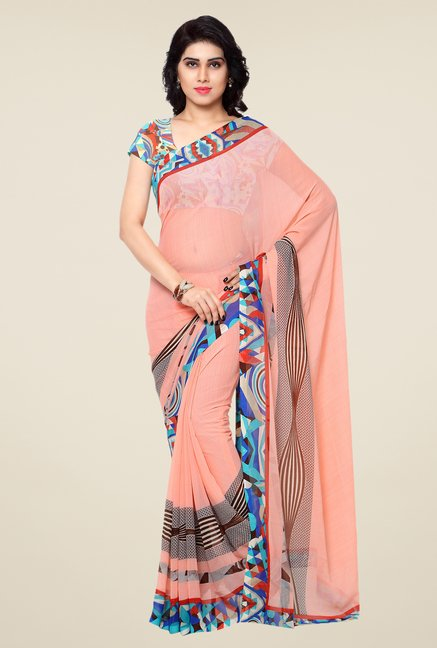 Shonaya Peach Printed Georgette Saree