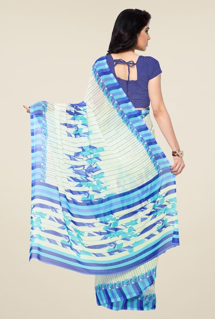 Shonaya Cream & Blue Printed Georgette Saree