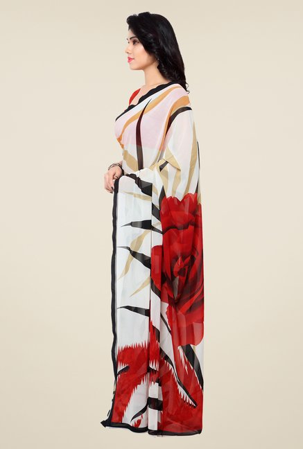 Shonaya Off White & Red Printed Georgette Saree