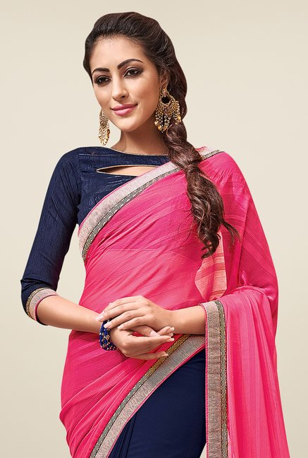 Shonaya Navy & Pink Embroidered Chiffon Saree Piece