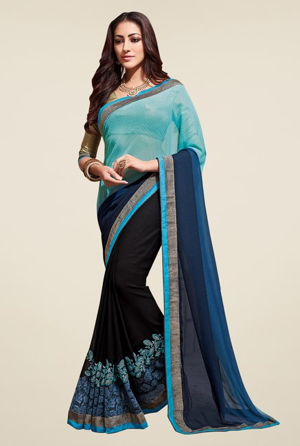 Shonaya Black & Blue Embroidered Saree With Blouse