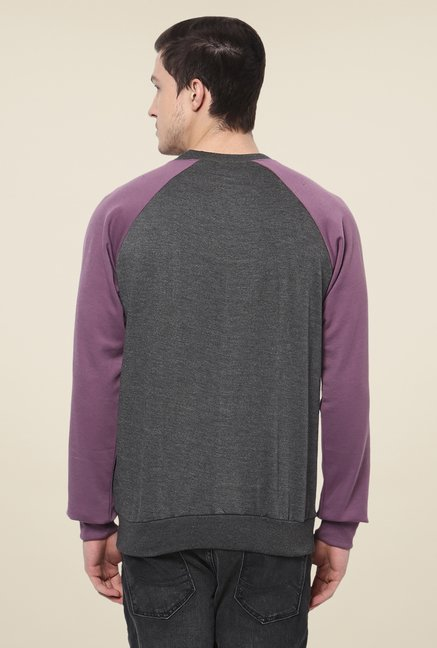 Yepme Grey & Purple Printed Sweatshirt