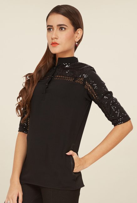 Soie Black Embellished Top