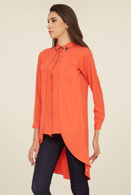 Soie Coral Solid Tunic