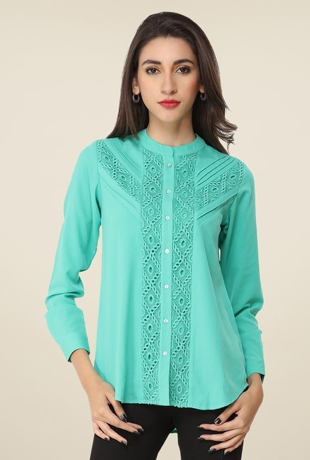 Soie Turquoise Lace Top